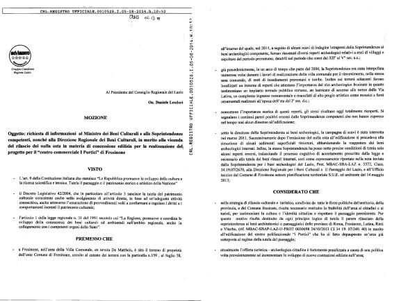 Frosinone: La Regione si informi su nulla osta a centro commerciale